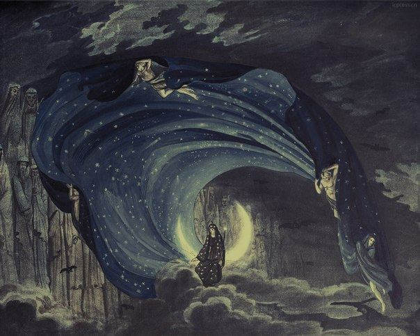 Simon Quaglio — Queen of the Night, from Mozart's Magic Flute set design , 1818